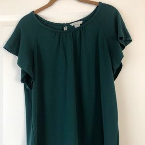 H&M Forest Green Flowy Top Med / Small